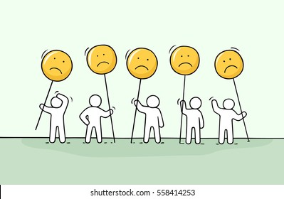 Crowd of working little people with sad sings. Doodle cute miniature about communication. Hand drawn cartoon vector illustration for chat and web design