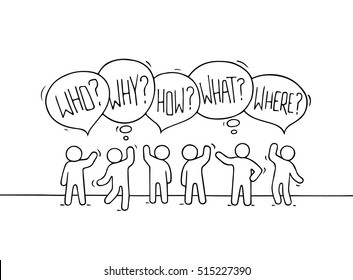 Crowd of working little people with speech bubbles. Doodle cute miniature teamwork scene with question words. Hand drawn cartoon vector illustration for business design and infographic.