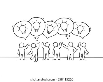 Crowd of working little people with speech bubbles and lamp ideas. Doodle cute miniature scene with creative messages. Hand drawn cartoon vector illustration for business design