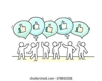 Crowd of working little people with speech bubbles and likes. Doodle cute miniature scene with positive messages. Hand drawn cartoon vector illustration for internet design and infographic.