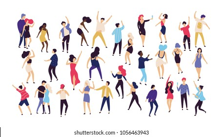 Crowd of young men and women dressed in trendy clothes dancing at club or music concert. Large group of male and female cartoon characters having fun at party. Flat colorful vector illustration.