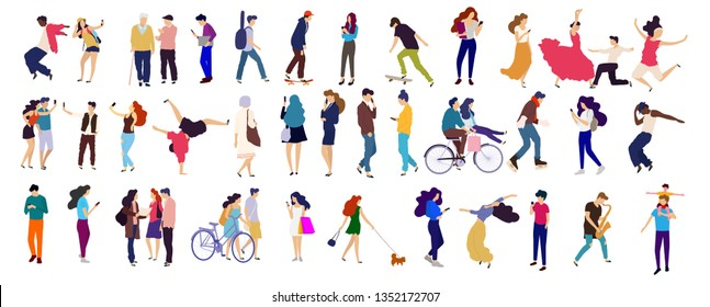 Crowd of young people. Characters big set.  Flat colorful vector illustration. Dancing, reading walking people - Vector