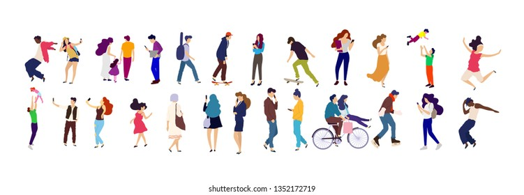 Crowd of young people. Characters big set.  Flat colorful vector illustration.