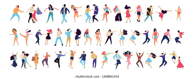 Crowd of young people dancing at club. Big set of characters having fun at party. Flat colorful vector illustration. - Vector