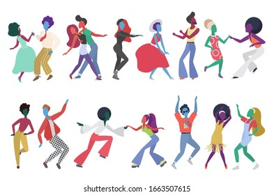 Crowd of young people dancing at club. Characters in stylish clothes having fun at club party set. Modern retro style vector illustration.