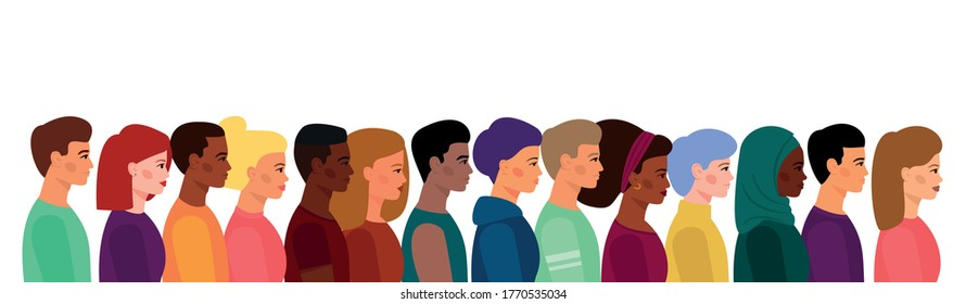 A crowd of young people, of different appearance, skin color, and hair. Diversity of nationalities. Boys and girls stand shoulder to shoulder in profile.