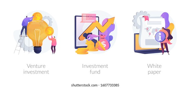 Crowdfunding campaign. Startup financing, seed funding. Creative idea generation. Venture investment, investment fund, white paper metaphors. Vector isolated concept metaphor illustrations
