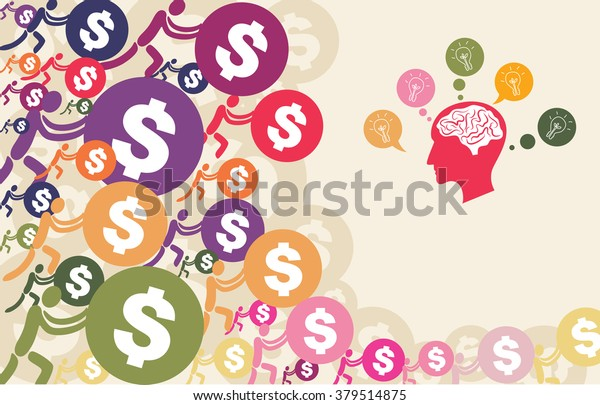 Crowdfunding concept with people pushing dollar coin to give their support to brain and head graphic with light bulb.