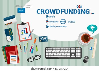 Crowdfunding design and flat design illustration concepts for business analysis, planning, consulting, team work, project management. Crowdfunding concepts for web banner and printed materials.