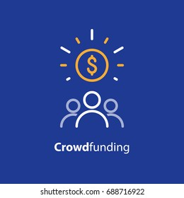 Crowdfunding and donation concept, raising money, crowdsourcing, vector line icon