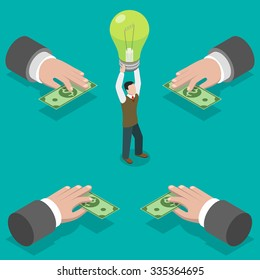 Crowdfunding flat isometric vector concept. Hands give money to man taking a bulb over his head.  Investing into idea.