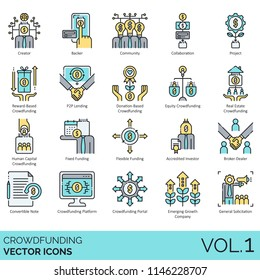 Crowdfunding flat vector icons. Creator, backer, community, collaboration, reward-based, p2p lending, equity, real estate, human capital, fixed funding, accredited investor, broker-dealer, platform.