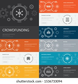 Crowdfunding Infographic 10 line icons banners. startup, product launch, funding platform, community simple icons
