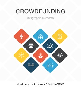 Crowdfunding Infographic 10 option color design.startup, product launch, funding platform, community simple icons