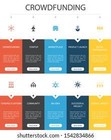 Crowdfunding Infographic 10 option UI design.startup, product launch, funding platform, community simple icons