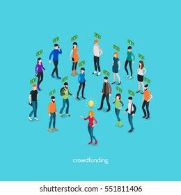 Crowdfunding isometric concept with group of people and creative person involving in business project vector illustration