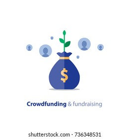 Crowdfunding project, fundraising campaign, money donation, charity fund, money bag, crowd sourcing, income growth, vector flat icon