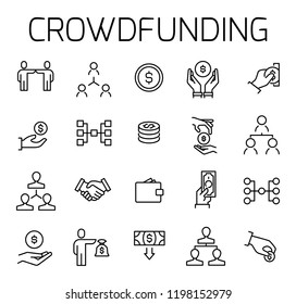 Crowdfunding related vector icon set. Well-crafted sign in thin line style with editable stroke. Vector symbols isolated on a white background. Simple pictograms.