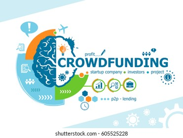 Crowdfunding related words and brain concept. Infographic business. Project for web banner and creative process.