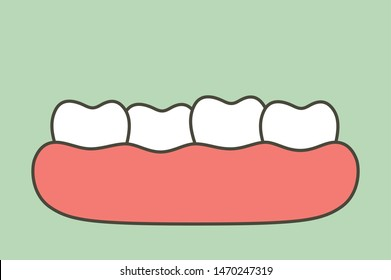 crowding teeth (malocclusion), dental problem - tooth cartoon vector flat style cute character for design