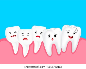 Crowding tooth, cute cartoon character. Dental problem concept, illustration. Isolated on blue background.