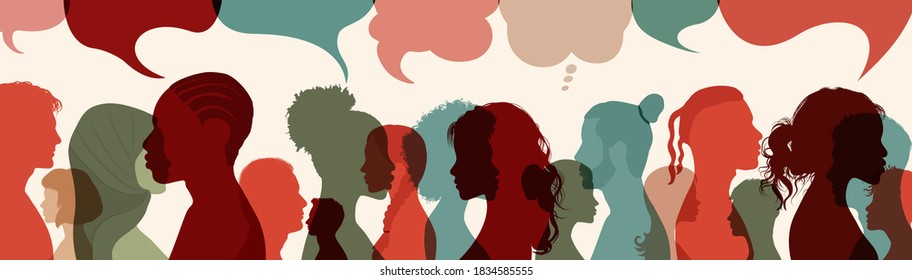 Crowd.Silhouette heads faces to the side of group of international people talking.Diversity people.Speech bubble. Communication. Communicate on social networks. Racial equality.Ethnicity