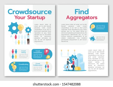 Crowdsource your startup brochure template. Find aggregators. Flyer, booklet, leaflet concept with flat illustrations. Vector page cartoon layout for magazine. advertising invitation with text space