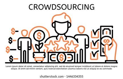 Crowdsourcing banner. Outline illustration of crowdsourcing vector banner for web design