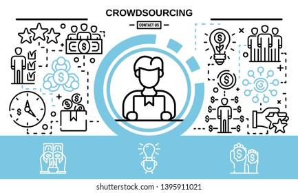 Crowdsourcing concept background. Outline illustration of crowdsourcing vector concept background for web design
