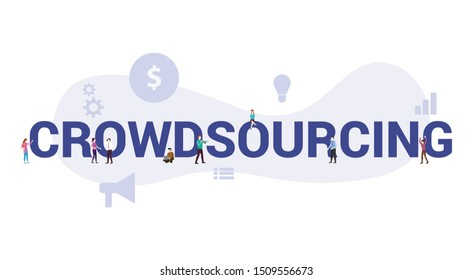 crowdsourcing concept with big word or text and team people with modern flat style - vector
