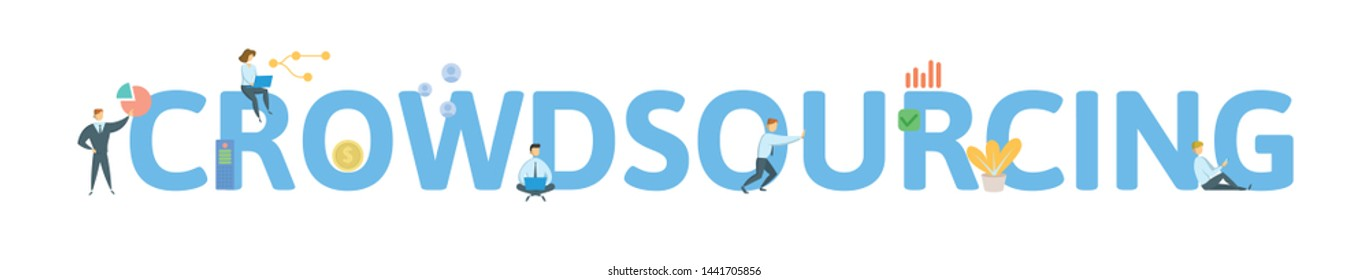 CROWDSOURCING. Concept with people, letters and icons. Colored flat vector illustration. Isolated on white background.