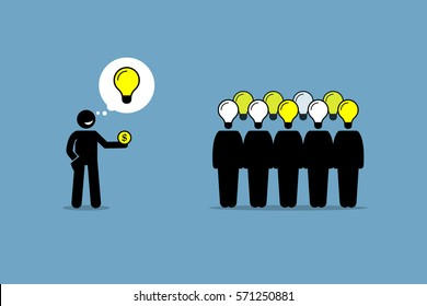 Crowdsourcing or crowd sourcing. Vector artwork depicts outsourcing and paying money to a large group of people to obtain their services and ideas.