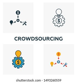 Crowdsourcing icon set. Four elements in diferent styles from content icons collection. Creative crowdsourcing icons filled, outline, colored and flat symbols.