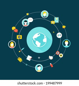 Crowdsourcing, Social Network and Media Concept