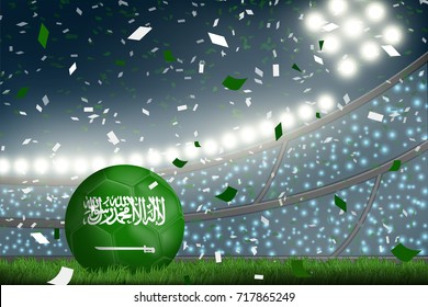 Crowed of fan in football stadium celebrate for the match in night time with spot light backdrop and Saudi soccer ball. This design for template, banner for soccer match result in vector illustration