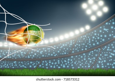 Crowed of fan in football stadium celebrate for the match in night time with spot light backdrop and Saudi soccer ball.Concept for template, banner for soccer match result in vector illustration
