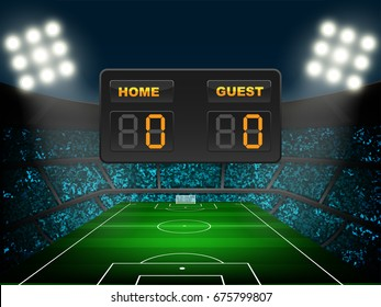 Crowed of fan in football stadium at night time with spotlight backdrop and scoreboard. This design for template, banner for soccer league match result in vector illustration