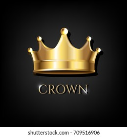 Crown With Black Background Gradient Mesh, Vector Illustration