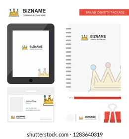 Crown Business Logo, Tab App, Diary PVC Employee Card and USB Brand Stationary Package Design Vector Template