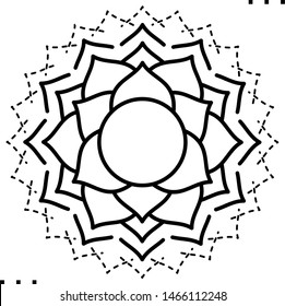 Crown Chakra coloring illustration  in outline style for modification and customizing  according to a specific task.