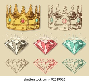 Crown and diamond isolsted on background