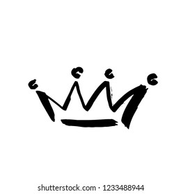 Crown doodle icon. Modern brush ink. Isolated on white background. Vector