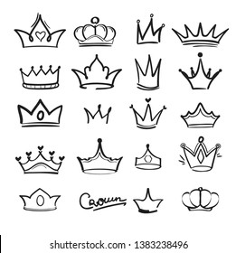 Crown doodles. King majestic imperial monarch elegant symbols in hand drawn vector style