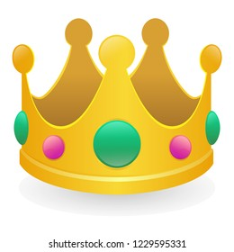 Crown Emoji Icon Object Symbol Gradient Vector Art Design Cartoon Isolated Background