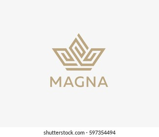 Crown flower logo icon vector design. Premium house hotel spa logotype. Royal king linear emblem.