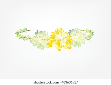 crown flowers set  side way isolated on white background,