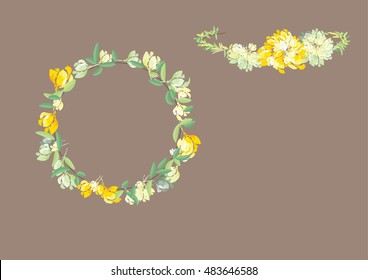 crown flowers set  side way and top isolated on white background,