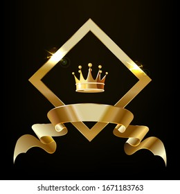 Crown in a gold diamond with a ribbon. Vector