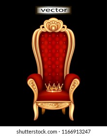 Crown of gold on the throne of the king in the throne room, velvet upholstery red on the throne. Vector illustration of crown icon for web design