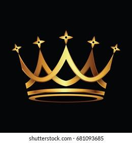 Crown. Gold symbol icon on black background. Vector illustration.